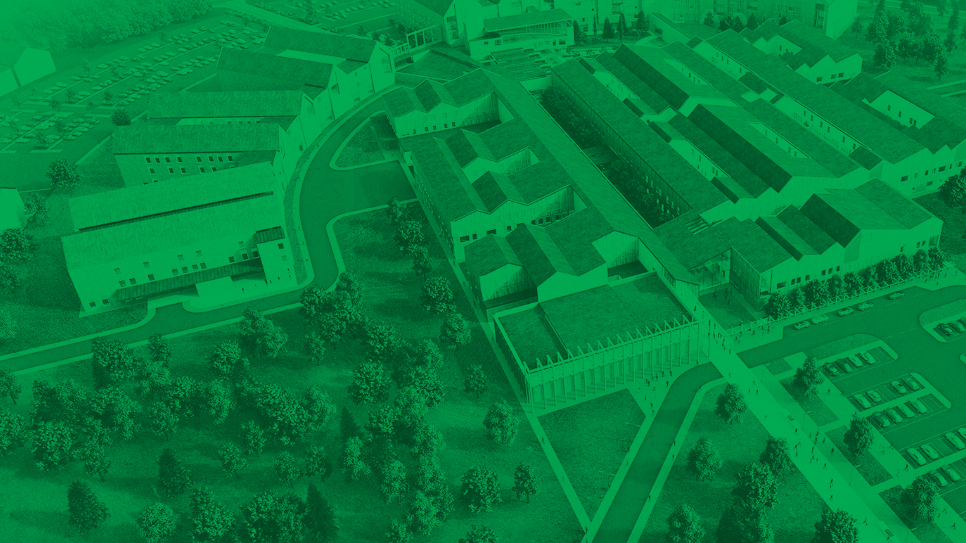 Birdseye view of hospital with green transparent overlay